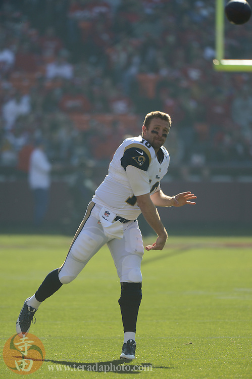 December 1, 2013; San Francisco, CA, USA; St. Louis Rams quarterback Kellen Clemens (10) warms up before the game against the San Francisco 49ers at Candlestick Park. The 49ers defeated the Rams 23-13.