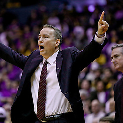 Feb 13, 2016; Baton Rouge, LA, USA; Texas A&M Aggies head coach Billy Kennedy against the LSU Tigers during the first half of a game at the Pete Maravich Assembly Center. Mandatory Credit: Derick E. Hingle-USA TODAY Sports