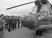 "Air Corps Takes Delivery Of Puma Helicoptor. (N86)..1981..22.07.1981..07.22.1981..22nd July 1981..The Air Corps took delivery,today, of a new French Built SA 330 J ""Puma"" Helicoptor. The ""Puma"" escorted by another Air Corps helicoptor landed at Casement Aerodrome, Baldonnell,Co Dublin...The Minister for Defence, James Tully TD, and some of the military high command get a close up view of the new addition to the Air Corps fleet."