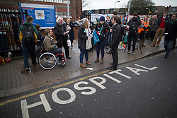 © Licensed to London News Pictures. 09/03/2016. London, UK.  Doctors picket St George's hospital in Tooting. Junior doctors are continuing their strike action after the government said it intended to impose a new employment contract. Photo credit: Peter Macdiarmid/LNP