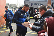 Matt Phillips (10) of West Bromwich Albion signing his autograph for fans on arrival at the Vitality Stadium before the Premier League match between Bournemouth and West Bromwich Albion at the Vitality Stadium, Bournemouth, England on 17 March 2018. Picture by Graham Hunt.