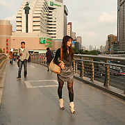 Shanghai, China: Pedestrian overpass on Hengfeng-lu Street in Zhabei, Puxi.   Jose More Photography