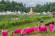The famous pink sheep - The 2017 Latitude Festival, Henham Park. Suffolk 14 July 2017