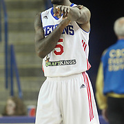Delaware 87ers Guard RUSS SMITH (5) directs traffic on the court in the first half of a NBA D-league regular season basketball game between the Delaware 87ers and the Raptors 905 Friday, Jan. 15, 2016. at The Bob Carpenter Sports Convocation Center in Newark, DEL.
