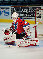 KELOWNA, CANADA - AUGUST 30:  Kelowna Rockets prospect #31, Jake Morrissey warms up in net against the Kamloops Blazers on August 30, 2014 during pre-season at Prospera Place in Kelowna, British Columbia, Canada.   (Photo by Marissa Baecker/Shoot the Breeze)  *** Local Caption *** Jake Morrissey;