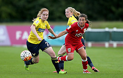 Jodie Brett of Bristol City Women passes the ball past Sophie Baker of Oxford United - Mandatory by-line: Robbie Stephenson/JMP - 25/06/2016 - FOOTBALL - Stoke Gifford Stadium - Bristol, England - Bristol City Women v Oxford United Women - FA Women's Super League 2