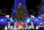 The Rockefeller Center Christmas Tree stands lit, Wednesday, Nov. 29, 2017, in New York. The 75-foot tall Norway spruce is covered with more than 50,000 multi-colored LED lights and will remain lit until Jan. 7. (Diane Bondareff/AP Images for Tishman Speyer)