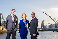 No repro fee<br /> 25-10-2017<br /> Picture shows from left in Dublin's docklands: Jamie Cudden, Smart City Coordinator, Dublin City Council; Anne O&rsquo;Leary, CEO, Vodafone Ireland and Minister for Communications, Climate Action and Environment, Denis Naughten  as Vodafone Ireland and Dublin City Council announce the deployment of Vodafone&rsquo;s Narrowband IOT network in Dublin&rsquo;s Docklands .One of the first new technologies to be tested is a new flood warning and response solution.The deployment of NBIOT in the area makes Dublin&rsquo;s docklands a world leading Smart City IOT test bed.Pic:Naoise Culhane-no fee