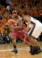 Boston College guard Tyrese Rice (4) is guarded by Virginia guard Sean Singletary (44).  The Virginia Cavaliers men's basketball team defeated the Boston College Golden Eagles 84-66 at the John Paul Jones Arena in Charlottesville, VA on January 19, 2008.