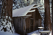 Cabin, Winter, Log Cabin, Sequoia and Kings Canyon National Parks, California