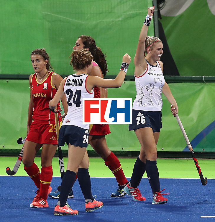 RIO DE JANEIRO, BRAZIL - AUGUST 15:  Lily Owsley (R) of Great Britain celebrates after scoring their third goal during the Women's quarter final hockey match between Great Britain and Spain on Day10 of the Rio 2016 Olympic Games held at the Olympic Hockey Centre on August 15, 2016 in Rio de Janeiro, Brazil.  (Photo by David Rogers/Getty Images)