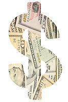 Digital composite image of banknotes in dollar sign over white background