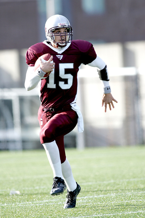 (3 November 2007 -- Ottawa) The University of Ottawa Gee Gees lost to the University of Western Ontario Mustangs 16-23 in OUA football semi-final action in Ottawa. The University of Ottawa Gee Gee player pictured in action is Joshua Sacobie