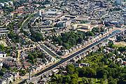 Nederland, Drenthe, Assen, 27-08-2013;<br /> Overzicht van de stad Assen, diagonaal door beeld de Vaart Z.Z. en rechtsonder het begin van het stadsbos Asserbosch een van de oudste bossen van Nederland. Centraal het centrum met winkels.<br /> Overview of the city of Assen. Beginning of the urban forest(bottom) , one of the oldest forests of the The Netherlands.<br /> luchtfoto (toeslag op standaard tarieven);<br /> aerial photo (additional fee required);<br /> copyright foto/photo Siebe Swart.