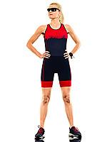 one caucasian woman practicing triathlon triathlete ironman runner running studio shot  isolated on white background