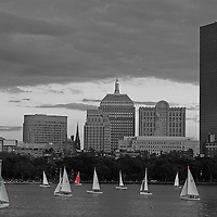 This selective color B&W Boston Charles River skyline photography image is available as museum quality photography prints, canvas prints, acrylic prints or metal prints. Prints may be framed and matted to the individual liking and decorating needs: <br />