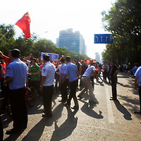 BEIJING, SEPTEMBER-15 :  Anti-Japanese protesters demonstrate over the disputed Diaoyu Islands outside the Japanese Embassy  . Protests have taken place across China in a dispute that is becoming increasingly worrying for regional stability.