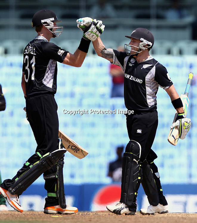 Martin Guptill and Brendon McCullum. ICC Cricket World Cup 2011, New Zealand v Kenya at M. A. Chidambaram Stadium, February 20, 2011. Chennai, India. Photo: photosport.co.nz