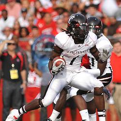 Sep 7, 2009; Piscataway, NJ, USA; Cincinnati wide receiver Marshwan Gilyard (1) runs after a catch during the first half of Rutgers 47-15 loss to Cincinnati in NCAA college football at Rutgers Stadium.