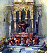Moorish Fountain. Pen and watercolour.  Aurore Amadine Lucie Dupin (1804-1876) French  novelist and feminist who wrote under the name  of George Sand. Architecture Garden