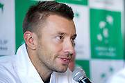 Michal Przysiezny of Poland while press conference three days before the BNP Paribas Davis Cup 2014 between Poland and Croatia at Torwar Hall in Warsaw on April 1, 2014.<br /> <br /> Poland, Warsaw, April 1, 2014<br /> <br /> Picture also available in RAW (NEF) or TIFF format on special request.<br /> <br /> For editorial use only. Any commercial or promotional use requires permission.<br /> <br /> Mandatory credit:<br /> Photo by &copy; Adam Nurkiewicz / Mediasport