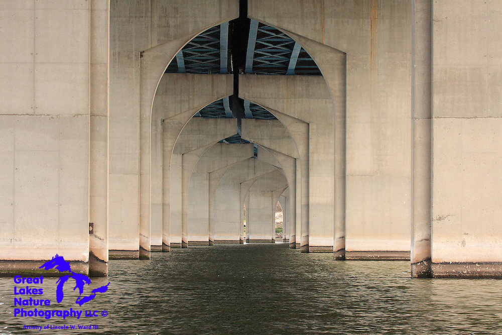 This view of the massive Allouez-Ashwaubenon Bridge over Wisconsin's Fox River is an interesting study in geometric patterns.