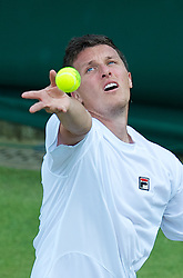 LONDON, ENGLAND - Saturday, June 30, 2012: Kenneth Skupski (GBR) during the Mixed Doubles 2nd Round match on day five of the Wimbledon Lawn Tennis Championships at the All England Lawn Tennis and Croquet Club. (Pic by David Rawcliffe/Propaganda)