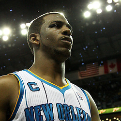 April 24, 2011; New Orleans, LA, USA; New Orleans Hornets point guard Chris Paul (3) walks off the court following a win over the Los Angeles Lakers in game four of the first round of the 2011 NBA playoffs at the New Orleans Arena. The Hornets defeated the Lakers 93-88.   Mandatory Credit: Derick E. Hingle