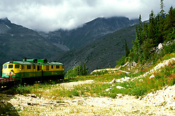 AK: Skagway, Alaska, White Pass Yukon Railroad     .Photo Copyright: Lee Foster, lee@fostertravel.com, www.fostertravel.com, (510) 549-2202.Image: akklon211