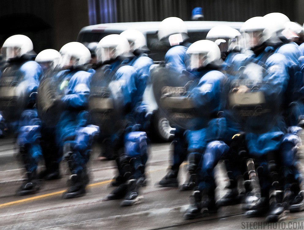 Riot Police in Zurich, Switzerland, preparing to confront protesters and activists on May Day.