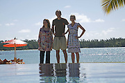 3 shortlisted writers: Joanna Briscoe, Ben Markowits and Louise Dean.  Infinity pool.  Preparing for the Le Prince Maurice Prize. Mauritius. 26 May 2006. ONE TIME USE ONLY - DO NOT ARCHIVE  © Copyright Photograph by Dafydd Jones 66 Stockwell Park Rd. London SW9 0DA Tel 020 7733 0108 www.dafjones.com