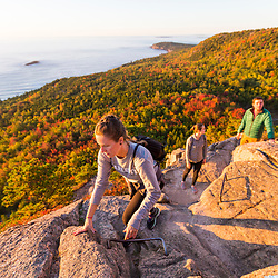 Hiking on The Beehive in Maine's Acadia National Park.