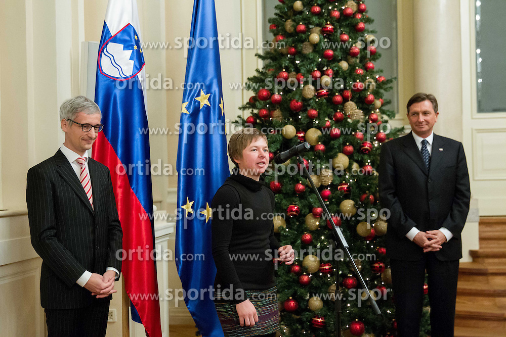 Jernej Pikalo, Tanja Zakelj and Borut Pahor during reception at Slovenian president Borut Pahor prior to the Slovenian Sports personality of the year 2013 annual awards presented on the base of Slovenian sports reporters, on December 19, 2013 in President palace, Ljubljana, Slovenia.  Photo by Vid Ponikvar / Sportida