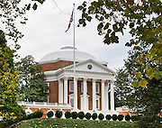 "The Rotunda building graces the grounds of the University of Virginia, in Charlottesville. Thomas Jefferson was inspired by the Pantheon in Rome and designed the Rotunda to represent the ""authority of nature and power of reason"". Construction began in 1822 and was completed in 1826, after his death. The grounds of the new university were unique in that they surrounded a library housed in the Rotunda rather than a church, as was common at other universities in the English-speaking world. The Rotunda is seen as a lasting symbol of Jefferson's belief in the separation of church and education, as well as his lifelong dedication to both education and architecture."