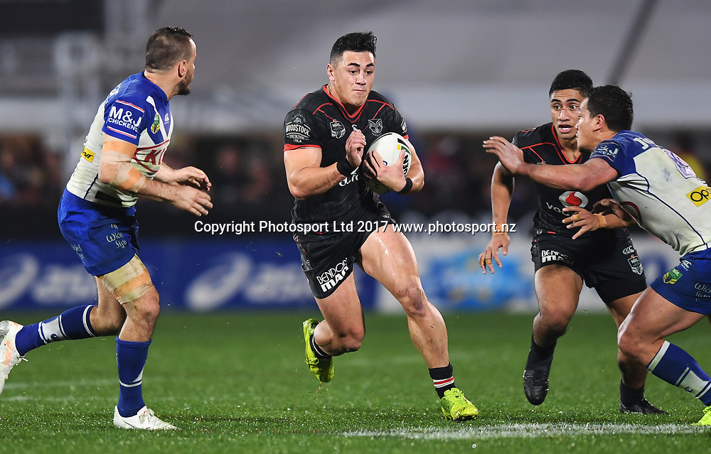 Nathaniel Roache.<br /> Vodafone Warriors v  Canterbury Bulldogs. NRL Rugby League. Mt Smart Stadium, Auckland, New Zealand. Friday 23 June 2017 &copy; Copyright Photo: Andrew Cornaga / www.Photosport.nz