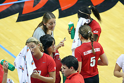 28 AUG 2009: Melissa Myers gives some instruction to Jessica Pratapas during a time out. The Redbirds of Illinois State defeated the Runnin' Bulldogs of Gardner-Webb in 3 sets during play in the Redbird Classic on Doug Collins Court inside Redbird Arena in Normal Illinois