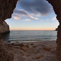 Cave on the beach, town of Porches, municipality of Lagoa, district of Faro, region of Algarve, Portugal
