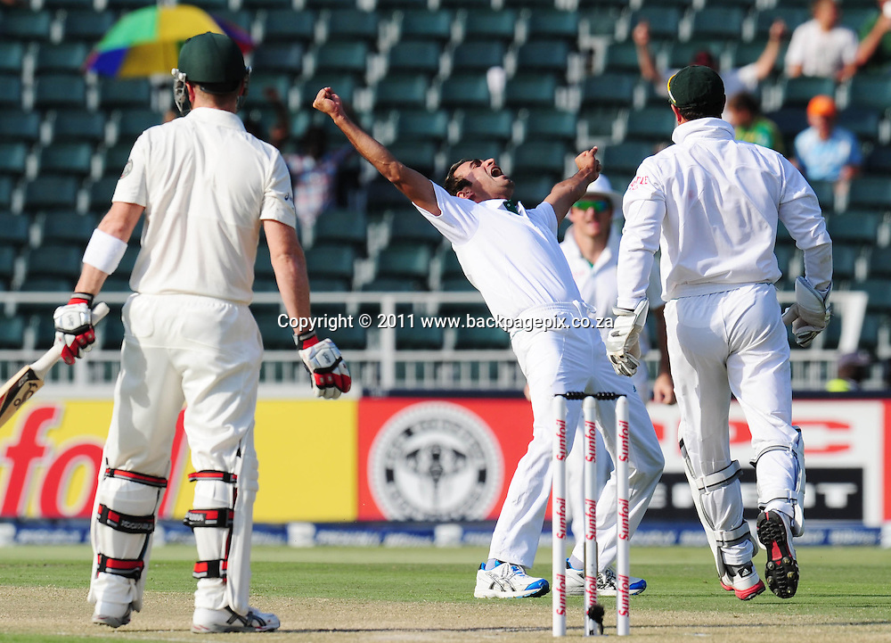 Imran Tahir of South Africa celebrates the wicket of Brad Haddin of Australia bowled LBW<br /> &copy; Barry Aldworth/Backpagepix