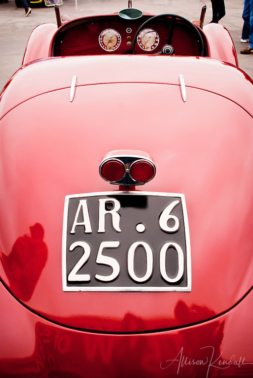 Detail of a vintage car, at Laguna Seca during the Reunion events of Monterey Car Week
