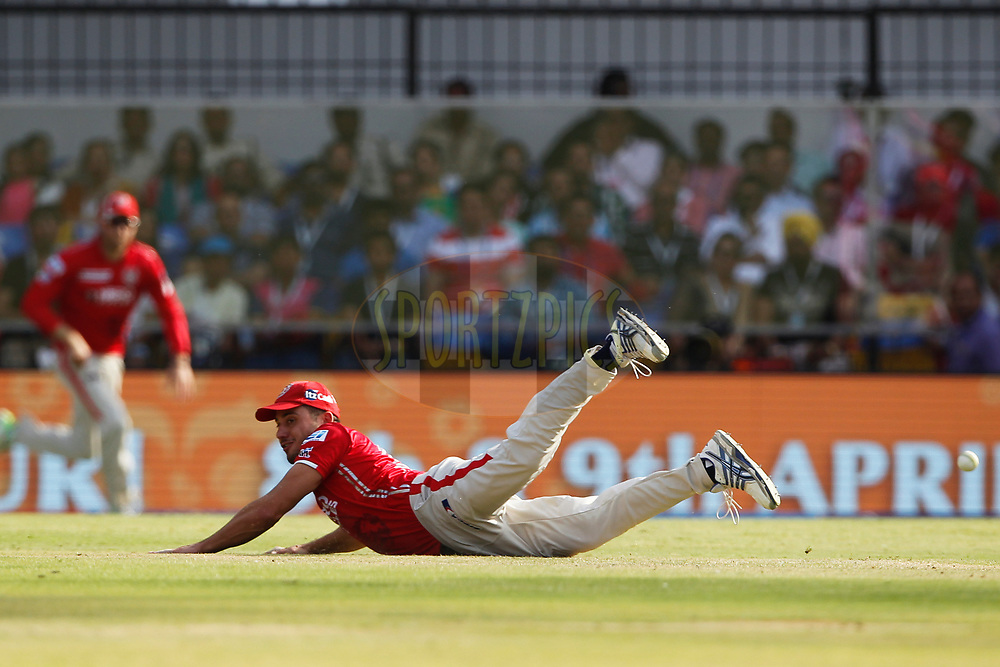 Marcus Stoinis of Kings XI Punjab in action during match 4 of the Vivo 2017 Indian Premier League between the Kings X1 Punjab and the rising Pune Supergiant held at the Holkar Cricket Stadium in Indore, India on the 8th April 2017<br /> <br /> Photo by Deepak Malik - IPL - Sportzpics
