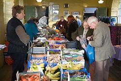 Fruit and vegetable market at Bishop's Castle; Shropshire,