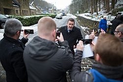 © Licensed to London News Pictures . 17/01/2016 . Rossendale , UK . Detective Superintendent PAUL WITHERS at a press conference at the scene on Sunny Bank Road , Helmshore , where 60-year-old Sadie Hartley was discovered with multiple stab wounds at her home at 22:40 GMT on Friday (15th January 2016) . Photo credit : Joel Goodman/LNP