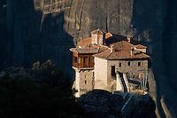 Greece, Meteora, Roussanou Monastery in sunrise