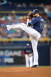 July 8, 2017 - St. Petersburg, Florida, U.S. - WILL VRAGOVIC   |   Times.Tampa Bay Rays starting pitcher Alex Cobb (53) throwing the first inning of the game between the Boston Red Sox and the Tampa Bay Rays at Tropicana Field in St. Petersburg, Fla. on Saturday, July 8, 2017. (Credit Image: © Will Vragovic/Tampa Bay Times via ZUMA Wire)