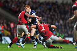 Jack Tovey (Bristol) is double-tackled by Will Spencer and Nathan Morris (London Welsh) - Photo mandatory by-line: Patrick Khachfe/JMP - Tel: Mobile: 07966 386802 28/05/2014 - SPORT - RUGBY UNION - Kassam Stadium, Oxford - London Welsh v Bristol Rugby - Greene King IPA Championship.