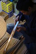 Japanese Sword Scabbard (Koshirae) Maker, Atsuhiro Morii, working at his workshop. Yokohama, Japan
