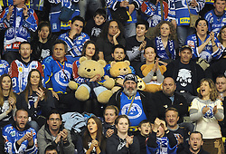 """11.03.2012, Dom Sportova, Zagreb, CRO, EBEL, KHL Medvescak Zagreb vs EC KAC, Playoff, Halbfinale, 3. Spiel, im Bild Medvescak's supporters. . during the semifinal Match of """"Erste Bank Icehockey League"""", third encounter between KHL Medvescak Zagreb and EC KAC at Dom Sportova, Zagreb, Croatia on 2012/03/11. EXPA Pictures © 2012, PhotoCredit: EXPA/ Pixsell/ Daniel Kasap..***** ATTENTION - for AUT only *****"""