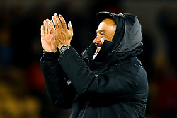 Wolverhampton Wanderers manager Nuno celebrates victory over Arsenal and gets caught up in his coat hood - Mandatory by-line: Robbie Stephenson/JMP - 24/04/2019 - FOOTBALL - Molineux - Wolverhampton, England - Wolverhampton Wanderers v Arsenal - Premier League
