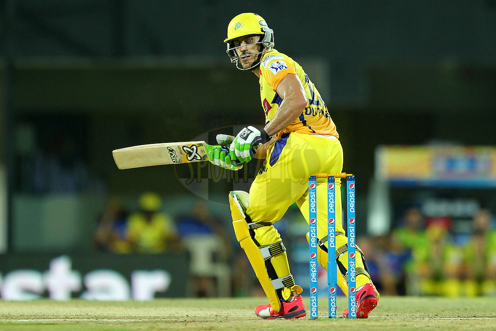 Faf Du Plessis of Chennai Super Kings during match 28 of the Pepsi IPL 2015 (Indian Premier League) between The Chennai Superkings and The Kolkata Knight Riders held at the M. A. Chidambaram Stadium, Chennai Stadium in Chennai, India on the 28th April 2015.Photo by:  Prashant Bhoot / SPORTZPICS / IPL