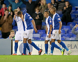 Birmingham City's Tom Adeyemi celebrates after scoring a goal  - Photo mandatory by-line: Nigel Pitts-Drake/JMP - Tel: Mobile: 07966 386802 01/10/2013 - SPORT - FOOTBALL - St. Andrew's - Birmingham - Birmingham City V Millwall